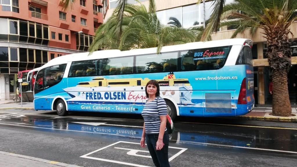 На таком автобусе нас возили от офиса в Лас Пальмас до порта в Агаете